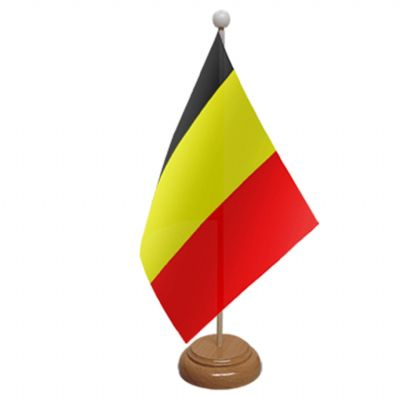 BELGIUM - TABLE FLAG WITH WOODEN BASE